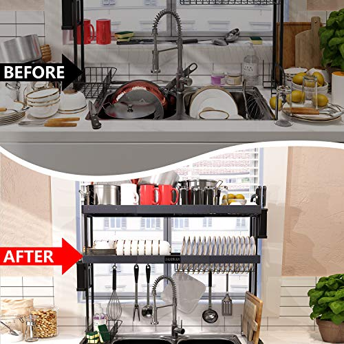 JASIWAY Over The Sink Dish Drying Rack Adjustable (27.5'' - 33.5''), Stainless Steel 2-Tier Expandable Over The Sink Dish Drying Rack with Tableware Drainer Organizer Utensils Holder