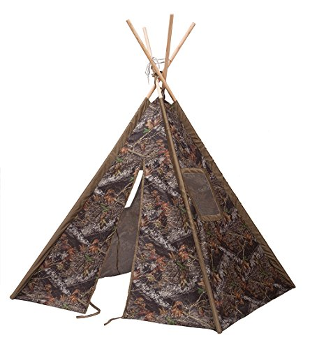 Kids Portable Camo Teepee Tent Play Fort with Carry Case (Green Mossy Oak)