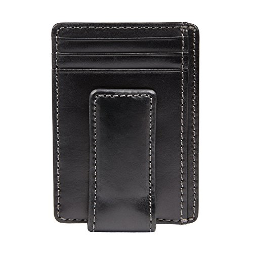 - HOJ Co. CARRYALL Mens Leather Money Clip Wallet-Strong Magnetic Front Pocket Wallet-Exterior ID Window (Black)