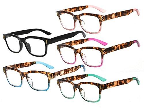 Frame Shaded Pink Lenses - Eyekepper Stylish Reading Glasses for Women 5-Pack Mixed Color +1.5