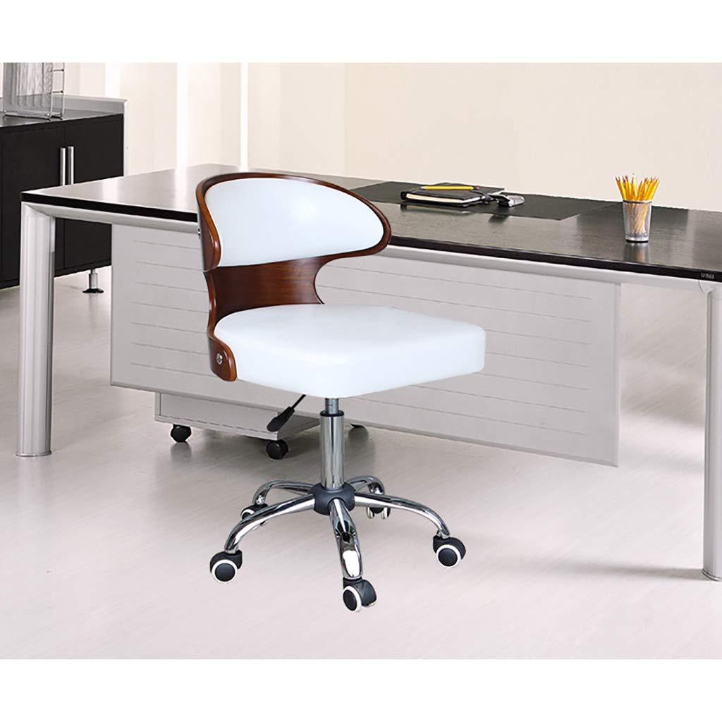 Kontorsstol, vintage retro matstil stol kök kontorsstol lounge stol med ryggstöd med hjul (färg: C) D