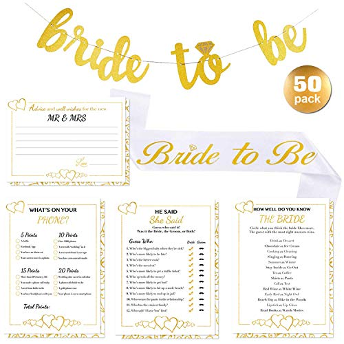 Bridal Shower Games with Bride-to-be Gold Banner & Bride to be Sash - 50x5 Wedding Party Cards | Alpine Celebrations ()