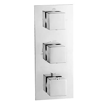 Square Thermostatic Mixer Shower Valve 3 Way Diverter Modern Chrome Bathroom