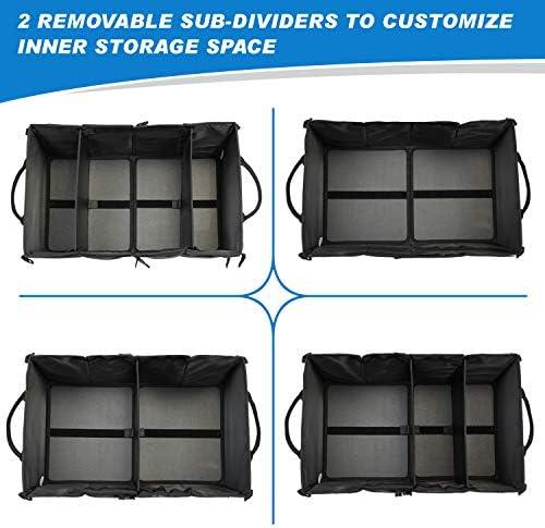 SUV und mehr Khaki Home Innovation KofferraumOrganizer mit 3 F/ächern und 9 Taschen langlebig und waschbar f/ür Auto Faltbarer Kofferraum f/ür LKW-Ladungen mit No-Slip Streifen