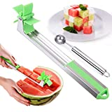 Watermelon Windmill Slicer,Melon Slicer Cutter Tool that features an automatic cutting blade,with Melon Baller