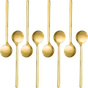 Pack of 8, Gold Plated Stainless Steel Espresso Spoons, findTop Mini Teaspoons Set for Coffee Sugar Dessert Cake Ice Cream Soup Antipasto Cappuccino, 5.3 Inch