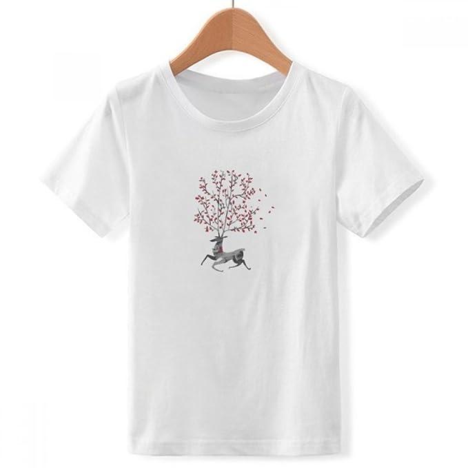DIYthinker Reno de la Navidad Efecto artístico Cuello Redondo Pintado a Mano Camiseta para Chico: Amazon.es: Ropa y accesorios