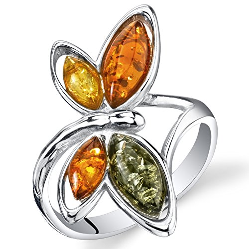 Baltic Amber Butterfly Ring Sterling Silver Cognac Color Multiple Colors Size -