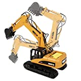 RC Excavator Toy, 15CH Full Functional Remote Control Excavator Construction Tractor Toy with 2.4Ghz Transmitter and Metal Shovel for Kids