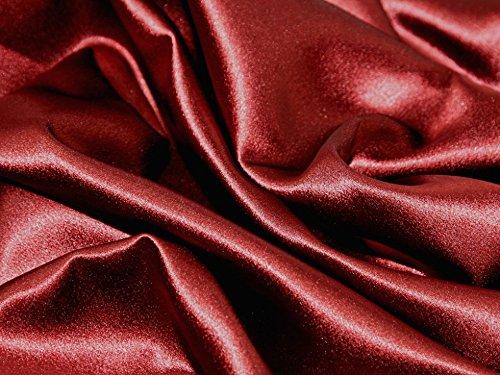 (Satin Backed Crepe Bridal Fabric Wine - per metre)