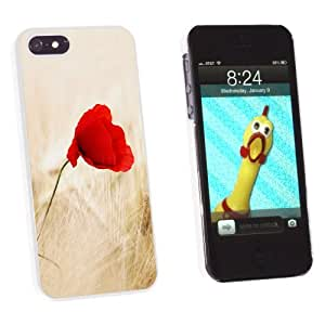 Graphics and More Red Poppy Flower in Wheat Field - Snap-On Hard Protective Case for Apple iPhone 5/5s - Non-Retail Packaging - White