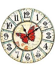 ساعة حائط خشبية دائرية مطبوعة مزودة بانالوج معدني - متعدد الالوان