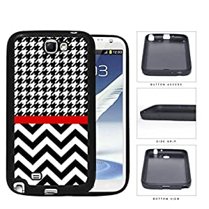 Black and White Houndstooth Pattern on Top with Chevron Pattern on Bottom and Red Line in Center Rubber Silicone TPU Cell Phone Case Samsung Galaxy Note 2 II N7100 WANGJING JINDA