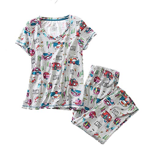 (Amoy madrola Women's Pajama Sets Capri Pants with Short Tops Cotton Sleepwear Ladies Sleep Sets SY296-Gray)