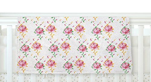 KESS InHouse Laura Escalante Cross Stitch Flowers White Pink Fleece Baby Blanket 40 x 30 [並行輸入品]   B077ZT1F6J