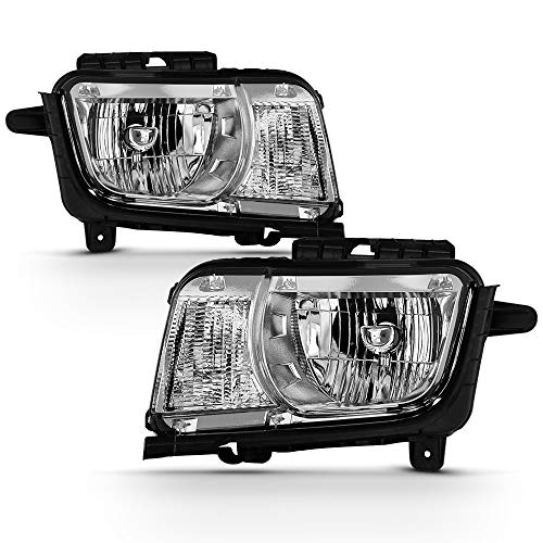 ACANII - For Chrome 2010 2011 2012 2013 Chevy Camaro Halogen Headlights Headlamps Replacement Driver & Passenger Side