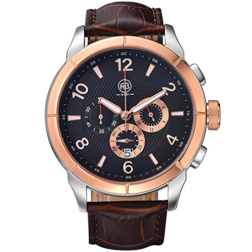 10 Atm Date Watch - AIBI Men's Watch Chronogragh Quartz Brown Leather 10 ATM Waterproof Watches With Date & Stopwatch