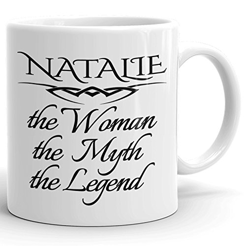 Best Personalized Womens Gift! The Woman the Myth the Legend - Coffee Mug Cup for Mom Girlfriend Wife Grandma Sister in the Morning or the Office - N Set 2