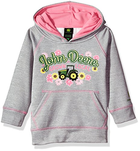 John Deere Fleece - John Deere Baby Girls' Fleece Pullover Poly Tech Hoody, Grey, 3T