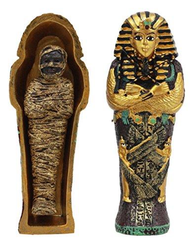 (Ebros Egyptian King Tutankhamun Pharaoh Sarcophagus Coffin With Mummy Figurine Set 4