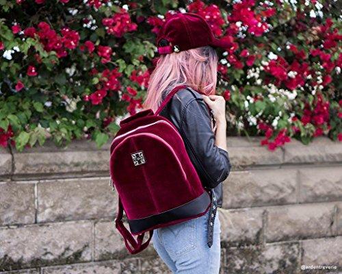 Dos Rouge Sac Bourgogne Féminin à K U Shoes Velours T Rq4pxFXp