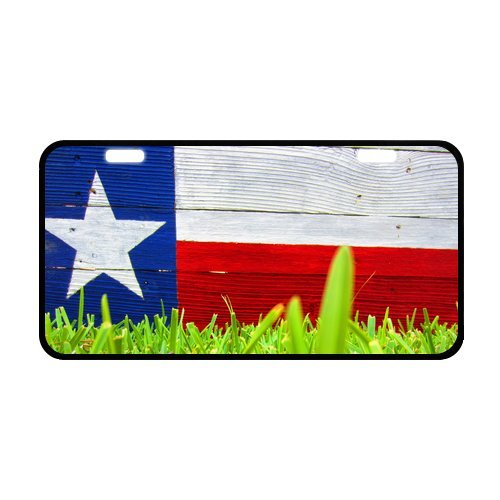 Texas Falg Green Grass Wood Pattern Durable And Strong Aluminum Car License Plate 11.8
