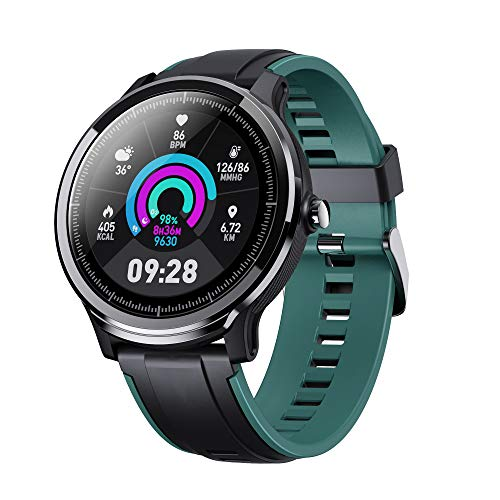 GOKOO Smart Watch Sport Activity Tracker Waterproof Smartwatch for Men with Blood Pressure Heart Rate Sleep Monitor Breathing Train Step Distance Calorie Full Touch Camera Music Control (Black-Green) (Watches For Men Touch)