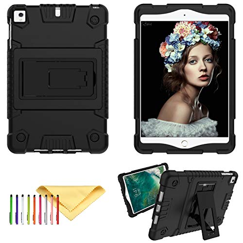 iPad Mini 5 Case Latest Model, iPad Mini 4 3 2 1 Case, Cookk Rugged Shockproof Shell Silicone Rubber Bumper Universal Case with Kickstand for Apple iPad Mini 5th 4th 3rd 2nd 1st Gen, Black