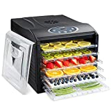 Ivation 6 Tray Premium Electric Food Dehydrator Machine - 480w - Digital Timer & Temperature Control with Auto Shutoff - 95ºF to 158ºF for Drying Beef Jerky, Fruits, Vegetables & Nuts, BPA Free