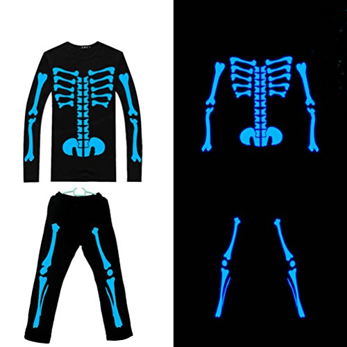D-Sun Unisex Luminous skull Skeleton Ghost Hip-hop Costumes Suit (XXL, Blue) (Glow In The Dark Skeleton Suit)