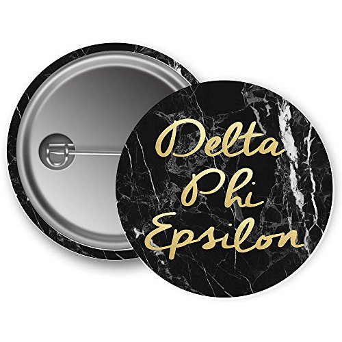 Phi Sorority Button - Delta Phi Epsilon Sorority Button Dark Marble with Gold Script Pin Back Badge 2.25-inch Button DPhie