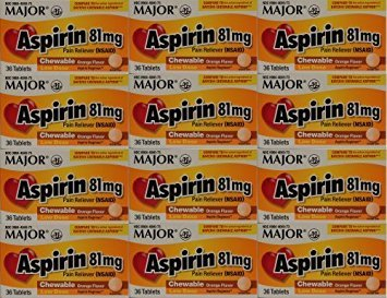 Aspirin 81mg Chewable Orange Flavored Tablets Generic for Bayer Children's Aspirin 36 Tabs per Boxe Pack of 12 Toatal 432 Tabs. by Major (Orange Flavored Chewable)