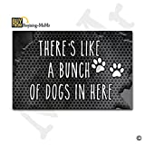 MsMr Doormat Entrance Floor Mat Funny Doormat Indoor/Outdoor/Kitchen Decorative Doormat Non-slip and Non-woven Fabric 23.6''x15.7'' - There's, Like A Bunch Of Dogs In Here (Metal Background)