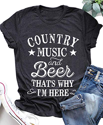 LANMERTREE kikisa Country Music and Beer That's Why I'm Here T Shirt Women's Short Sleeve Tops Blouse (XX-Large, - Dark T-shirt Beer Womens