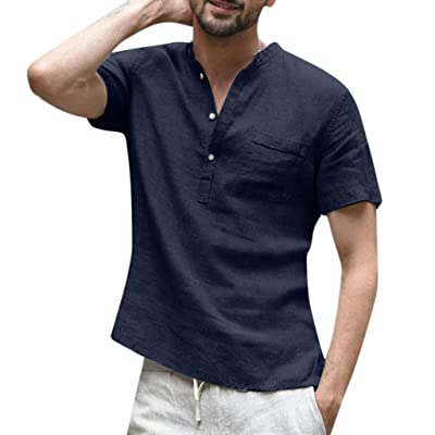HDGTSA Mens Long Sleeve Henley Shirt Cotton Linen Beach Yoga Loose Fit Henleys Tops at Men's Clothing store