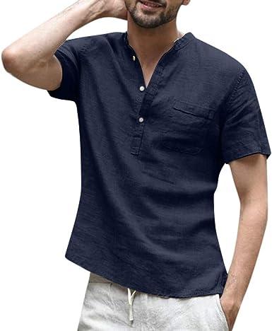 Fannyfuny camiseta Hombre Verano Polo Modelo Caballero Diario Top Camisetas Casuales Verano de Manga Corta T-Shirt Blusas Básica Casual Camisa con Botones: Amazon.es: Ropa y accesorios