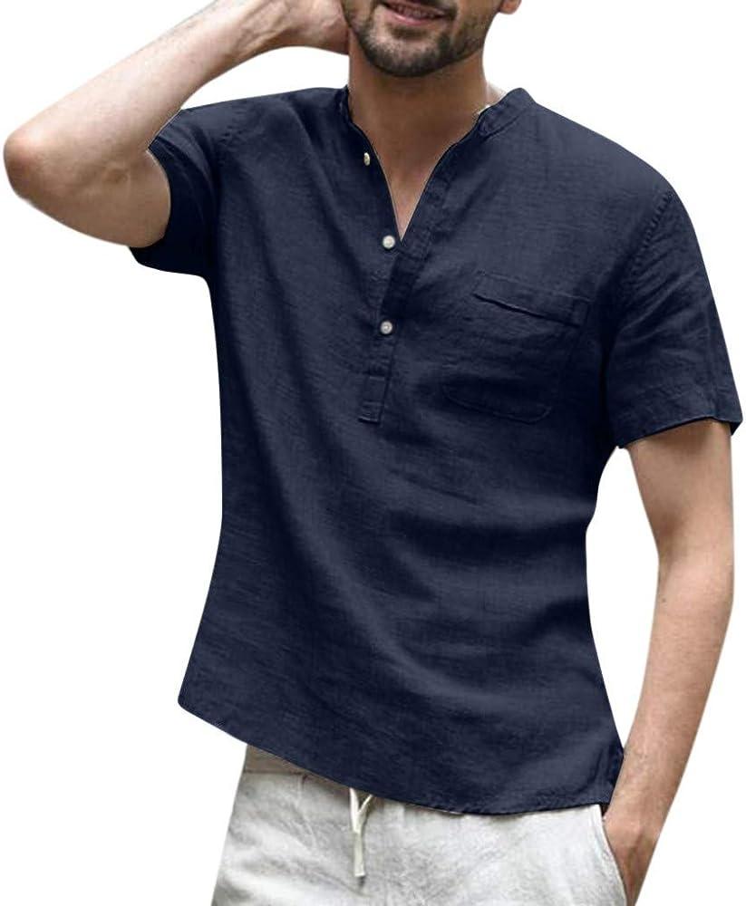 Hombre Camisetas de Algodón y Lino de Manga Corta Básico Top de Botones Retro Color sólido Casual Cuello Mao Suelta Transpirable Tallas Grandes Blusa de Trabajo T Shirts Camisas Gusspower: Amazon.es: Ropa