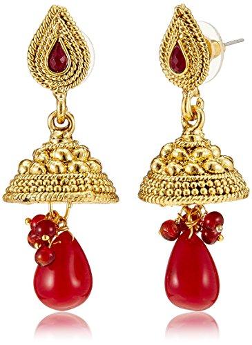 Aheli Jhumki Earrings for Women (Red) (A1EJP24)