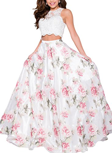 Yangprom Two Piece Floral Print Prom Dress Long Sleeveless Beaded Evening Gown