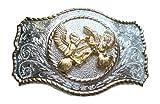 chicken belt buckle - JK Trading Men's Western Two Chicken Belt Buckle One Size Gold Silver