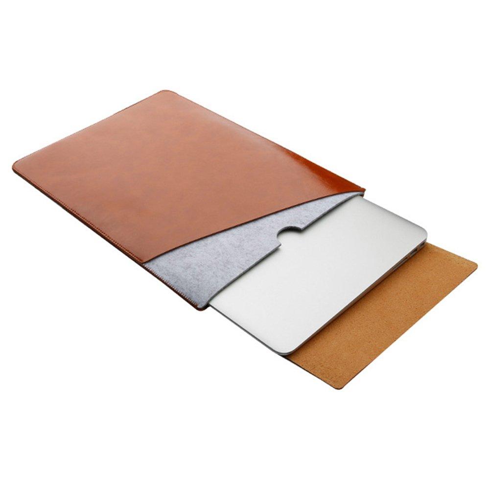 Housse Manche Pochette Sacoche en Feutre & Cuir Synthétique Microfibre pour 11.6 Pouces MacBook/HP/Dell/Samsung/Toshiba/Sony/Acer/ASUS/Lenovo Marron Clair MISSMAO
