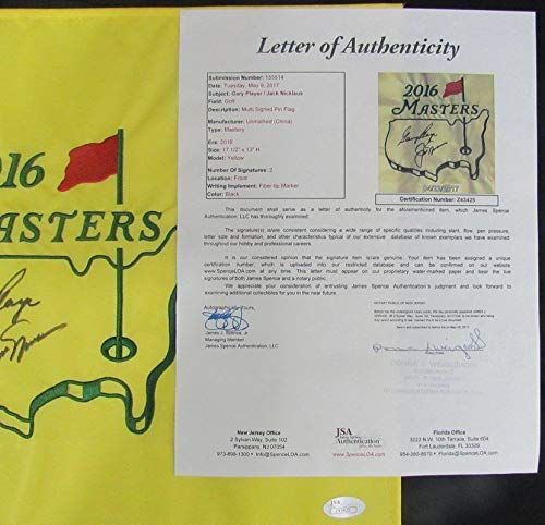 Gary Player/Jack Nicklaus Pga Dual Autographed Signed 2016 Masters Pin Flag JSA Authentic