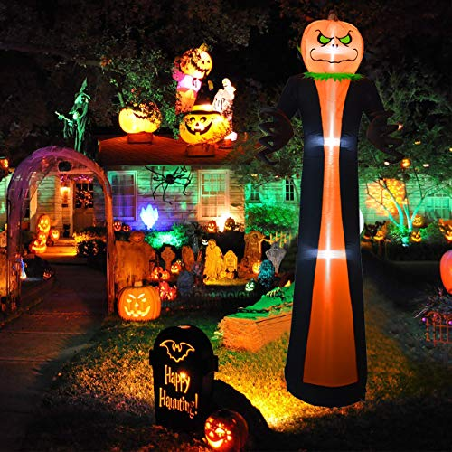 Zayzelle 10 Foot Halloween Inflatables Airblown Pumpkin Head Grim Reaper Lighted Home Yard Garden Indoor Outdoor Decoration