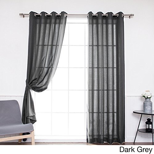 DH 2 Pieces 96 Inch Dark Grey Color Gazebo Curtains Set Pair, Charcoal Grey Solid Color Pattern Rugby Colors Outside, Outdoor Pergola Drapes Porch Deck Cabana Patio Screen Entrance Sunroom Lanai