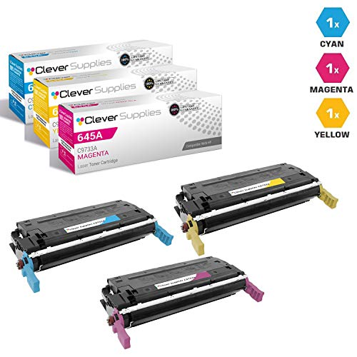 (CS Compatible Toner Cartridge Replacement for HP 645A C9731A Cyan C9732A Yellow C9733A Magenta Color Laserjet 5500 5500N 5500DN 5500DTN 5500HDN 5550 5550N 5550DN 5550DTN 5550HDN 3 Color Set)