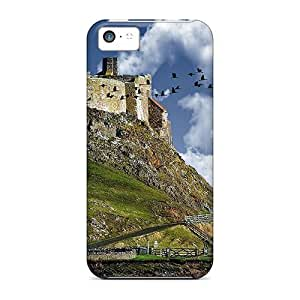 New Design Shatterproof IDeOrYQ5089NUUhA Case For Iphone 5c (crane Flying By A Castle On A Hill)