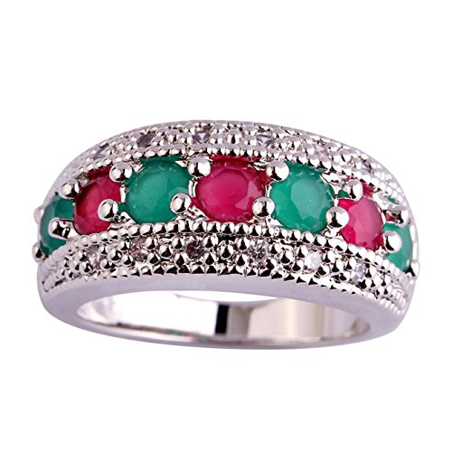 Emsione 925 Sterling Silver Plated Created Ruby Spinel&Stacking Womens Ring Emerald Spinel Ring