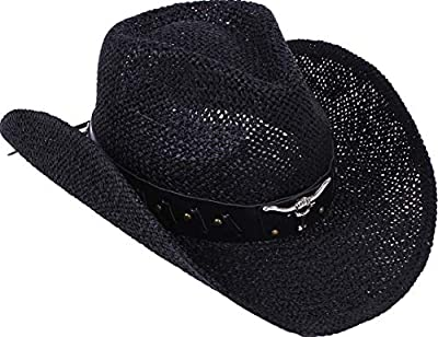 TAUT Unisex Woven Straw Cowboy Ranch Hat with Shapeable Brim