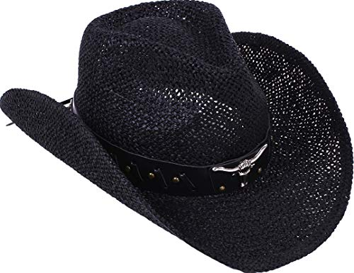 TAUT Unisex Woven Straw Ranch Cowboy Hat With Shapeable Brim ()