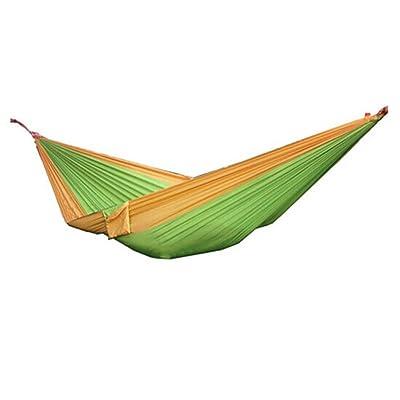 Élevée hammam à double parachute extérieur ultra léger hammock étudiant hamac balançoire portable simple (vert + jaune)